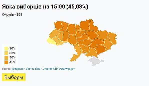 На 15:00 проголосовали 45,08% избирателей