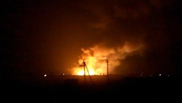 В Балаклее ночью на складе боеприпасов случился пожар