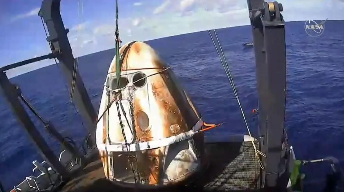 Корабль Crew Dragon приводнился в Атлантике